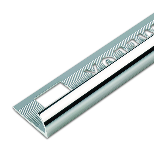 12.5mm Silver Round Edge Metal Tile Trim 2.5m