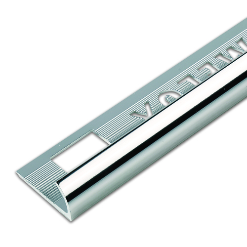 9mm Silver Round Edge Metal Tile Trim 2.5m