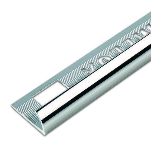 6mm Silver Round Edge Metal Tile Trim 1.83m
