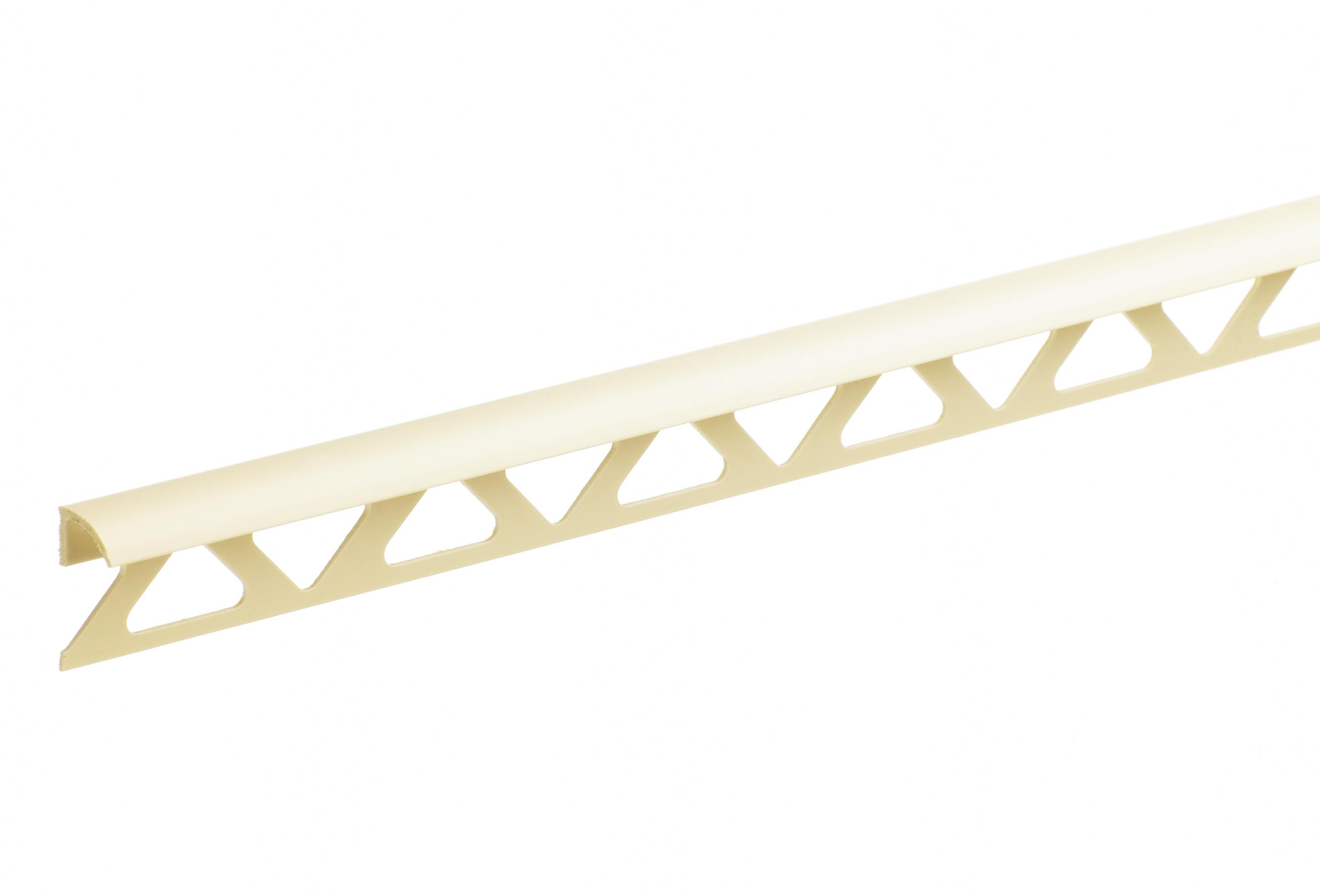 12.5mm Soft Cream Trade Round Edge PVC Tile Trim 2.44m