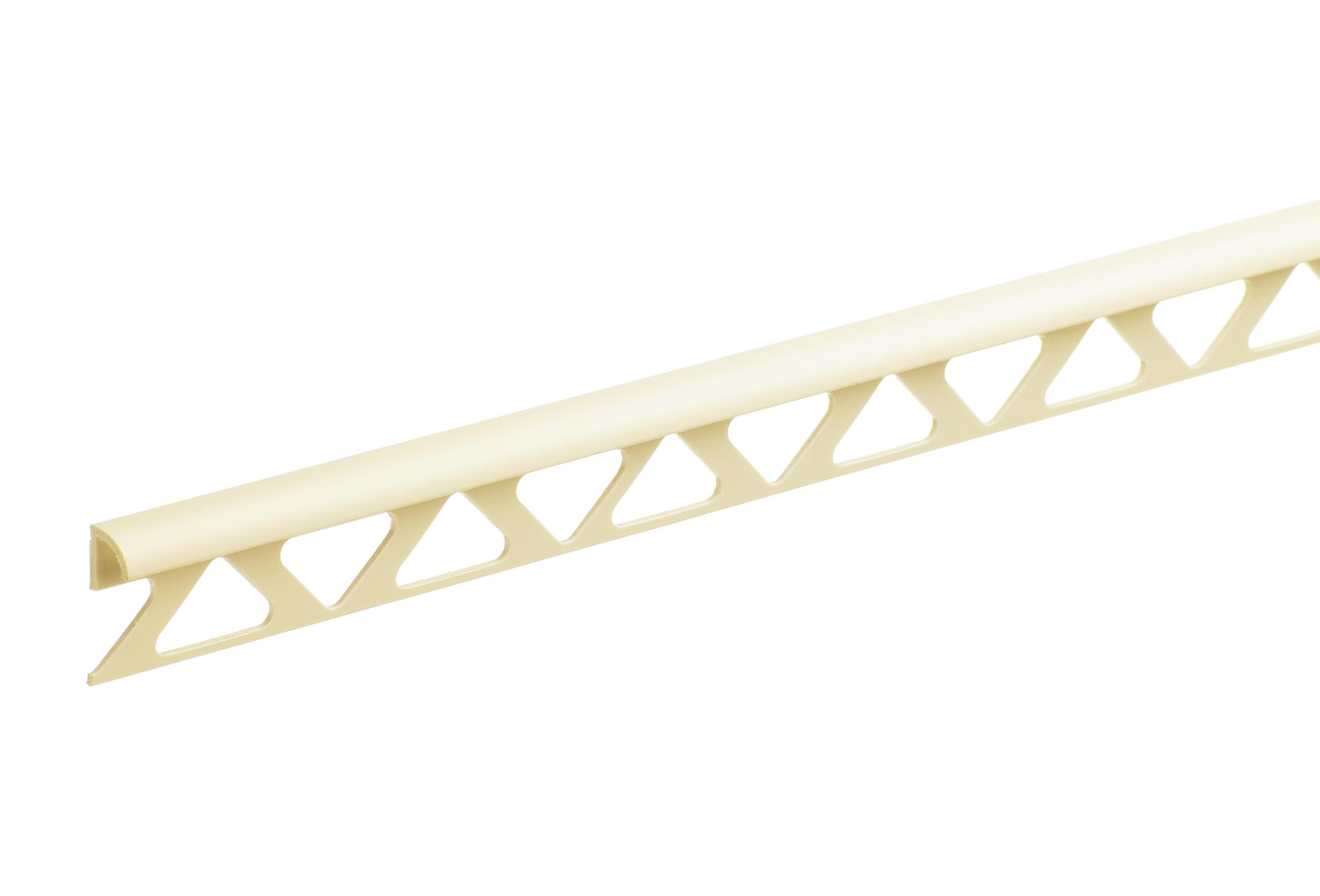 6mm Soft Cream Trade Round Edge PVC Tile Trim 2.44m
