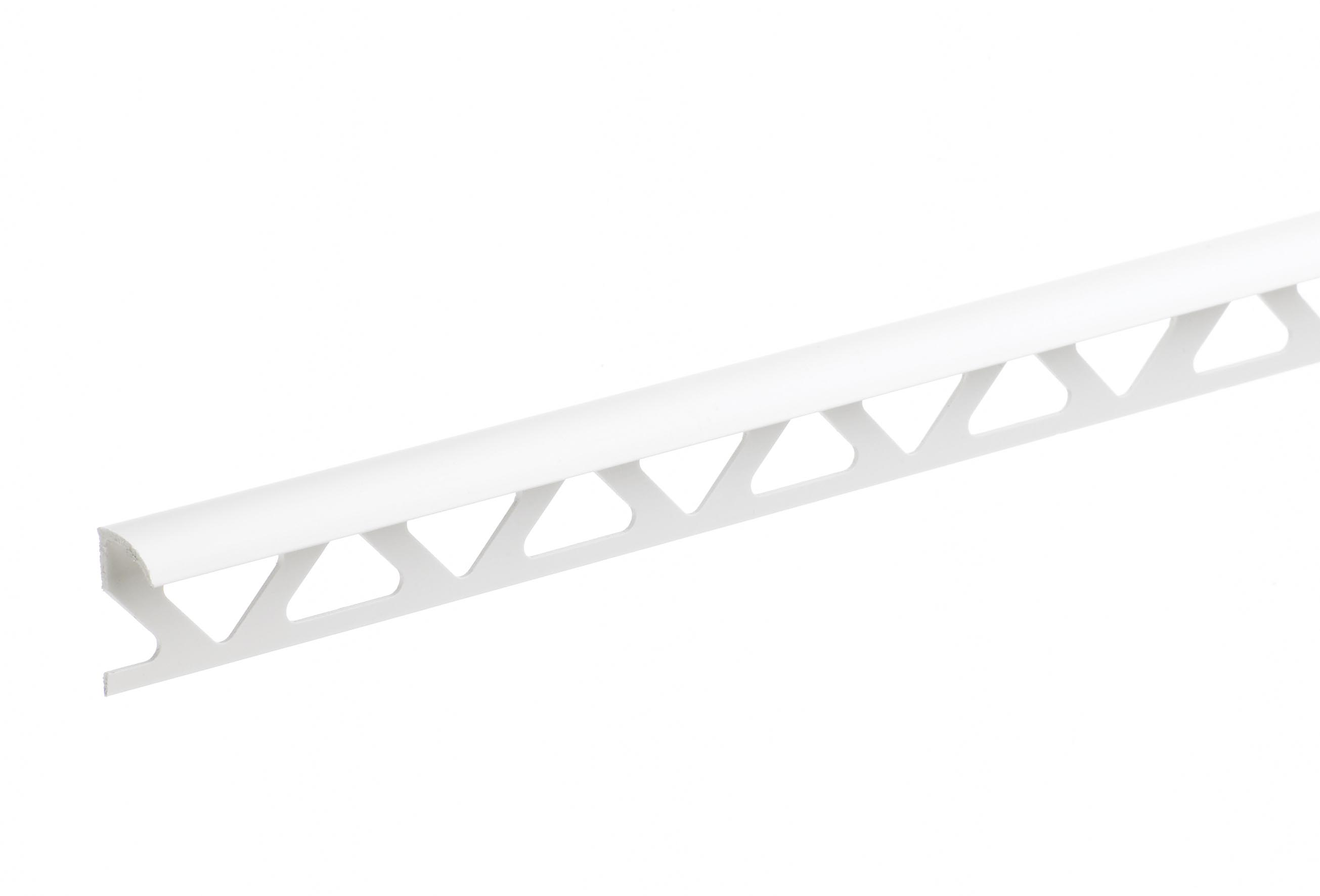 9mm White Trade Round Edge PVC Tile Trim 2.44m