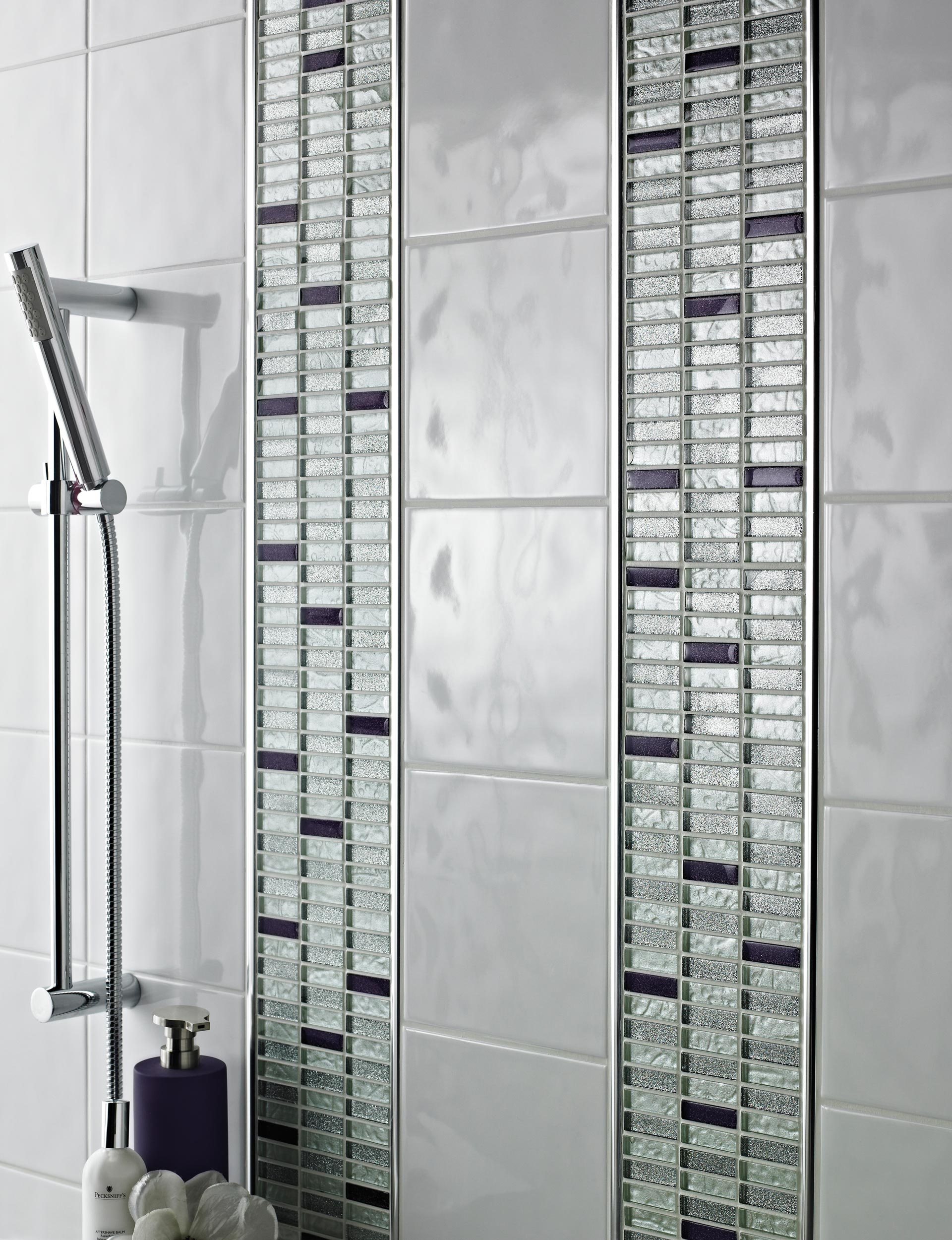 Silver and Aubergine Glass Mosaic