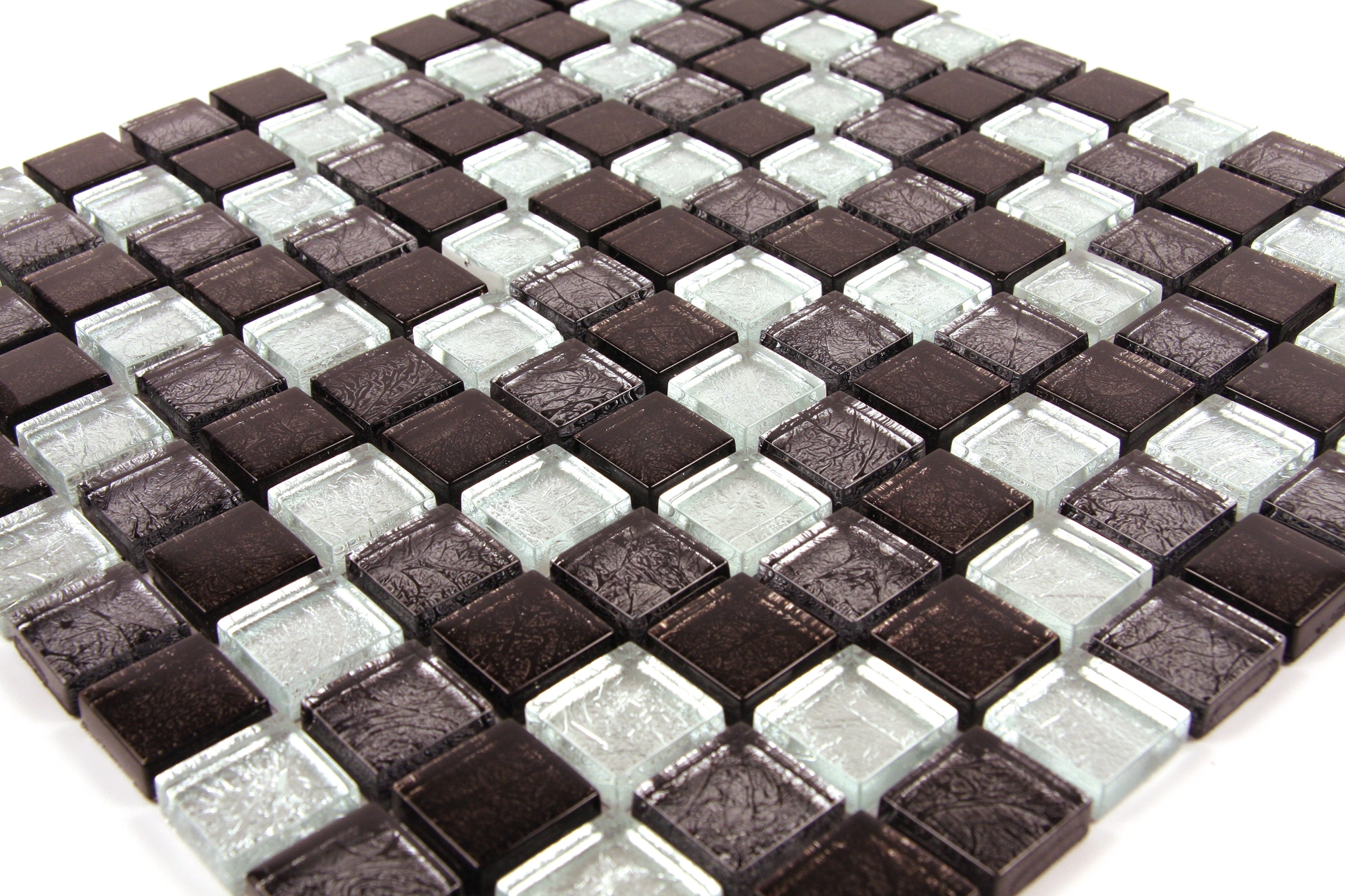 Black and Silver Leaf Glass Mosaic