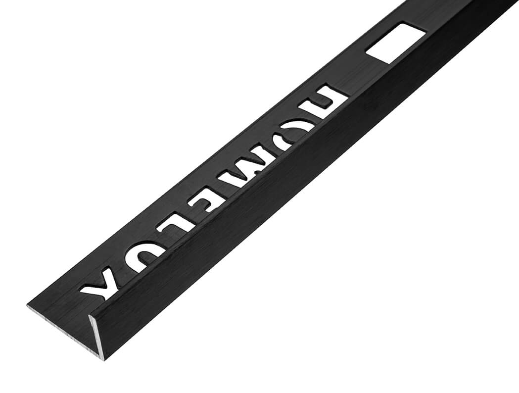 8mm Brushed Black Straight Edge Metal Tile Trim 1.83m